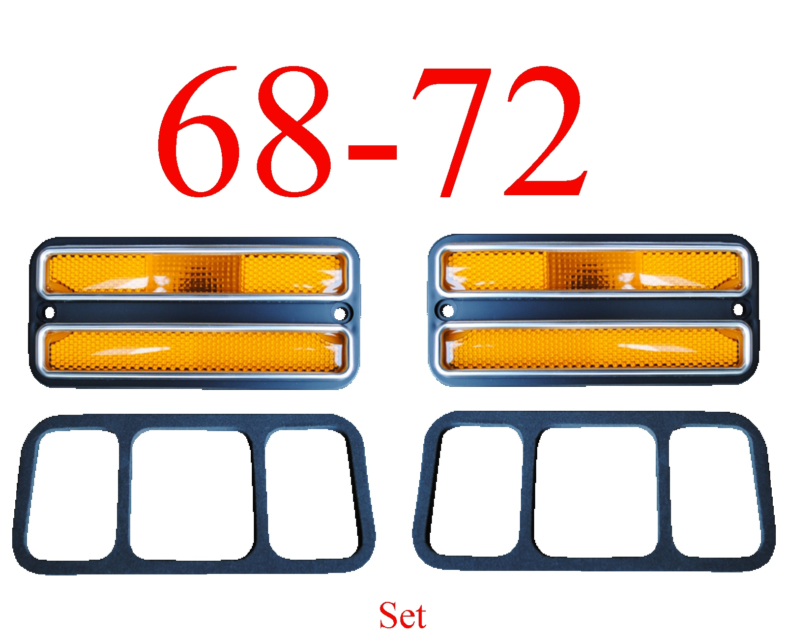 68-72 Chevy 2Pc Amber Deluxe Side Lights